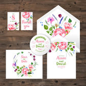 Wedding cards with watercolor floral elements — Stock Vector