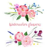 Watercolor floral borders — Stock Vector