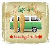 Summer time background with camper van — Stock Vector