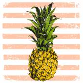 Hand drawn pineapple on striped background — Stok Vektör
