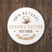 Organic cotton label — Stock Vector