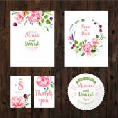Wedding cards with watercolor flowers — Stock Vector