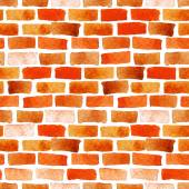Brick wall watercolor seamless — Stock Vector