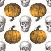 Wzór z dyni i czaszki — Wektor stockowy