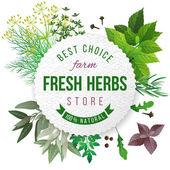 Fresh herbs store emblem — Stock Vector