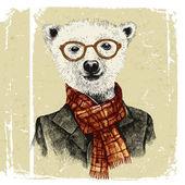 Рисованной одетых Хипстер медведь в очках — Cтоковый вектор