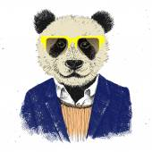 Hand drawn dressed up hipster panda — Stock Vector