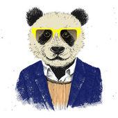 Handgezeichnete verkleidet Hipster panda — Stockvektor