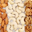 Almonds, cashews and walnuts — Stock Photo #60662877