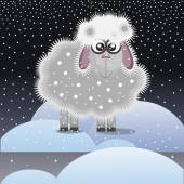 Christmas lamb in the snow,child's drawing — Stock Vector
