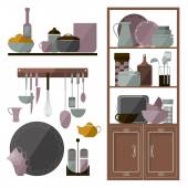 Set of furniture and utensils for the kitchen — Stock Vector