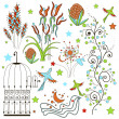 Set of flowers and plant elementov.dekorativnye curls and flowers, stalks stars, birds, cage. Wedding and birthday vector objects — Stock Vector #65446327
