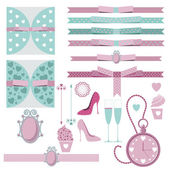 Set of elements and characters of a wedding celebration, love and devotion, hearts and ribbons, clocks and time, delicate pastel colors, emerald green and pink — Stockvektor