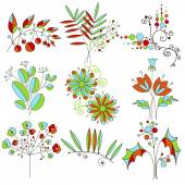 Set of fantastic plants and flowers arranged in decorative style, swirls, petals, buds — Stok Vektör