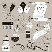 Vintage wedding set consisting of the elements embodying the wedding and the marriage is made in black and white, graphic style — Stock Vector