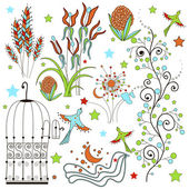 Set of flowers and plant elementov.dekorativnye curls and flowers, stalks stars, birds, cage. Wedding and birthday vector objects — Stock Vector