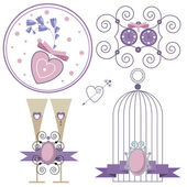 Set of wedding elements symbolizing love and marriage to decorate cards and invitations, narisovonny in gentle, pastel purple and pink colors — Stock Vector