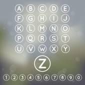 Alfabeto e composto de letras maiúsculas e um conjunto de números na forma de silhuetas brancas sobre um fundo suave, macio — Vetor de Stock