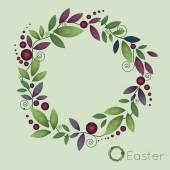 Flower wreath made watercolor image with leaves and berries — Stock Vector