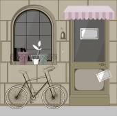 Bike at the entrance to the cafe — Stock Vector
