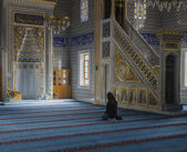 Young Muslim Woman Praying In Mosque — Stockfoto