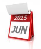 2015 June calendar, 3d render — Stock Photo