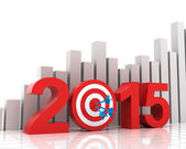 2015 target with bar chart background — Stock Photo
