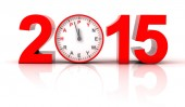 2015 happy new year with clock ticking — Stock Photo