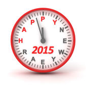 Clock with 2015 happer new year text, 3d render — Stock Photo