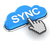 Clicking a cloud shaped sync button, 3d render — Stock Photo