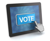 Clicking the vote button on a digital tablet, 3d render — Stock Photo