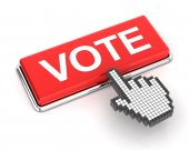 Clicking on vote button, 3d render — Stock Photo