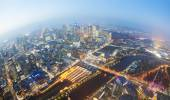 View of the CBD in a city at twilight — Stock Photo