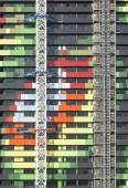 Exterior of a colorful buiilding under construction — Stock Photo