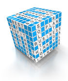 Crossword puzzle cube with business words, 3d render — Stock Photo