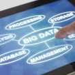 Clicking on a tablet with words related to Big data — Stock Photo #62048333