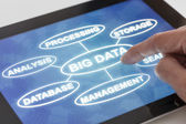 Clicking on a tablet with words related to Big data — Stock Photo