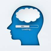 Human head with loading bar and thought bubble — Stock Photo
