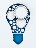 Light bulb paper cut with gears and copyspace, 3d render — Stock Photo