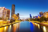 View of Yarra river in Melbourne at night — Stock Photo