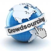 Crowdsourcing symbol with globe and cursor, 3d render — Stock Photo