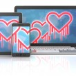Heartbleed bug symbols on gadgets — Stock Photo #62601975