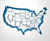 USA paper map with individual states, 3d render — Stock Photo