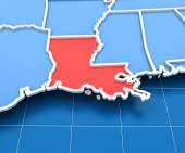 3d render of USA map with Louisiana state highlighted — Stock Photo