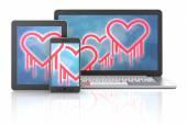 Heartbleed bug symbols on gadgets — Stock Photo