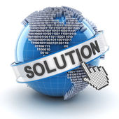 IT solution symbol with digital globe, 3d render — Stock Photo