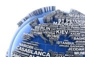 Earth with names of major cities in the world — Stock Photo