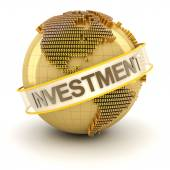 Golden globe with investment text — Stock Photo