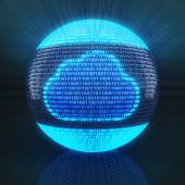 Cloud symbol on globe formed by binary code — Foto de Stock