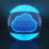 Cloud symbol on globe formed by binary code — Stock Photo